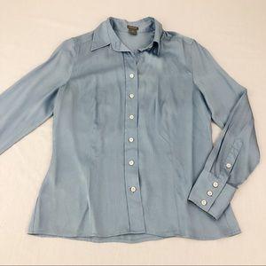 Ann Taylor Blue Silk Long Sleeve Blouse